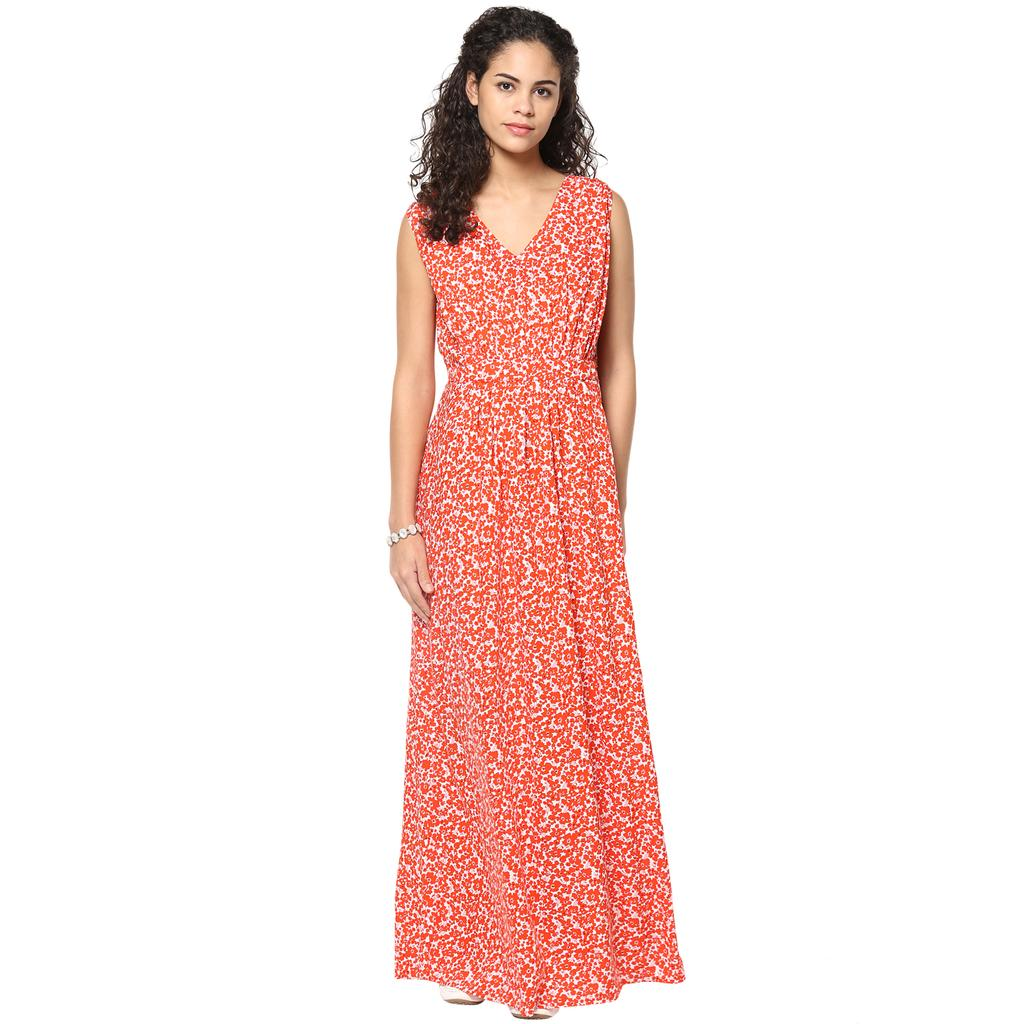 Orange floral maxi maternity dress