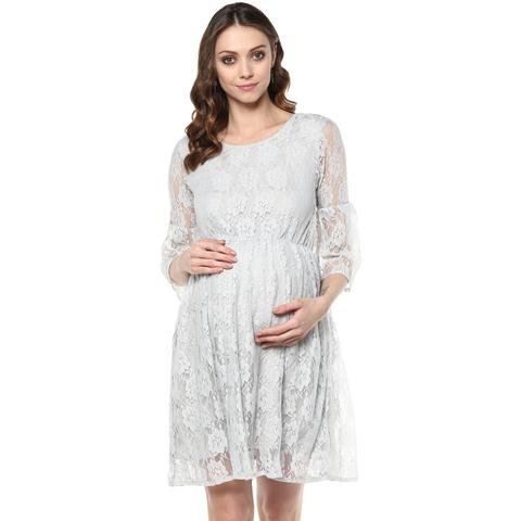 Grey lace maternity dress
