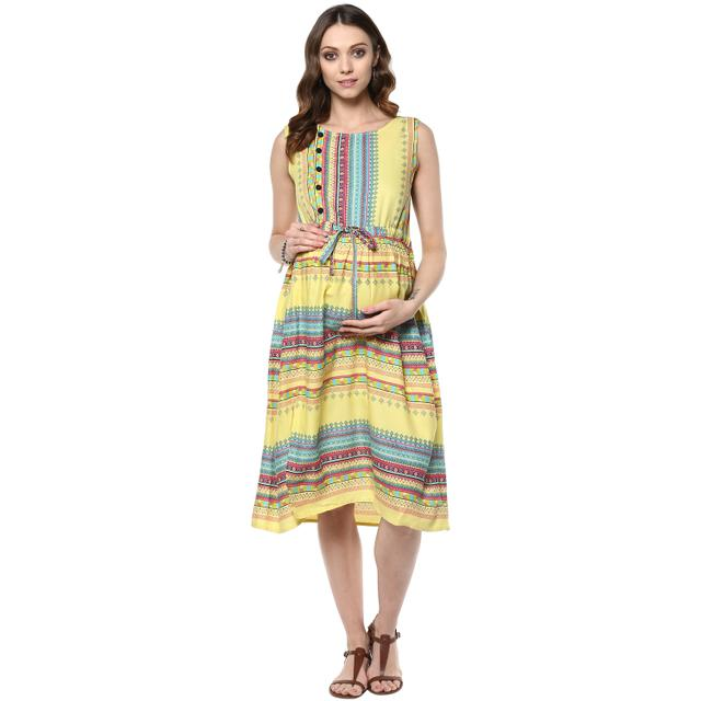 Yellow printed  maternity Midi dress