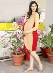 Maroon color block layered maternity dress