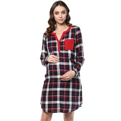 Blue checkered maternity dress