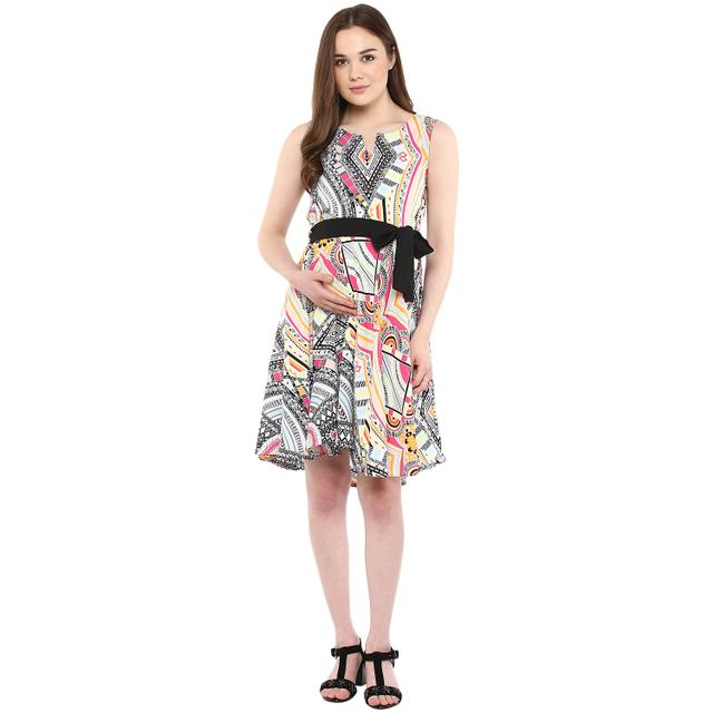 Women's Pink Tribal print dress with belt