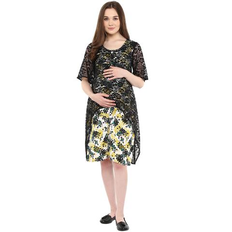 Mine4nine Women's Yellow and Green Printed dress