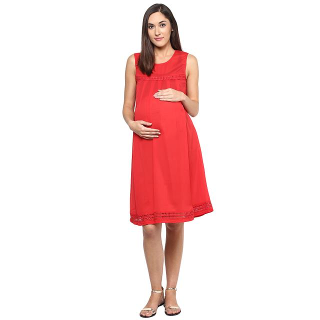 Mine4nine Women's Coral Pleat dress