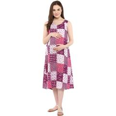 Mine4nine Women's Pink and purple geometric print Dress