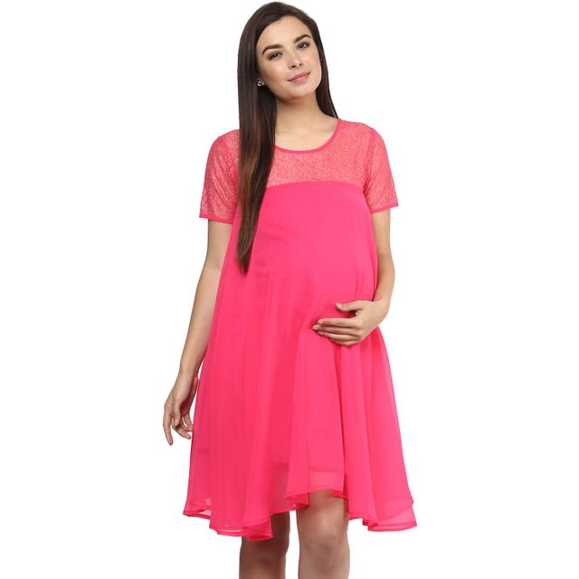 Mine4nine Women's PINK EMPIRE WAIST LACE DRESS