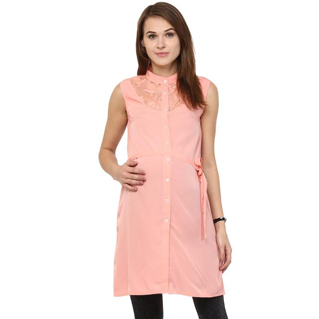 PEACH LACE NECK DRESS