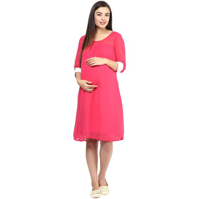 Mine4nine Women's PINK CONTRAST CUFF DRESS