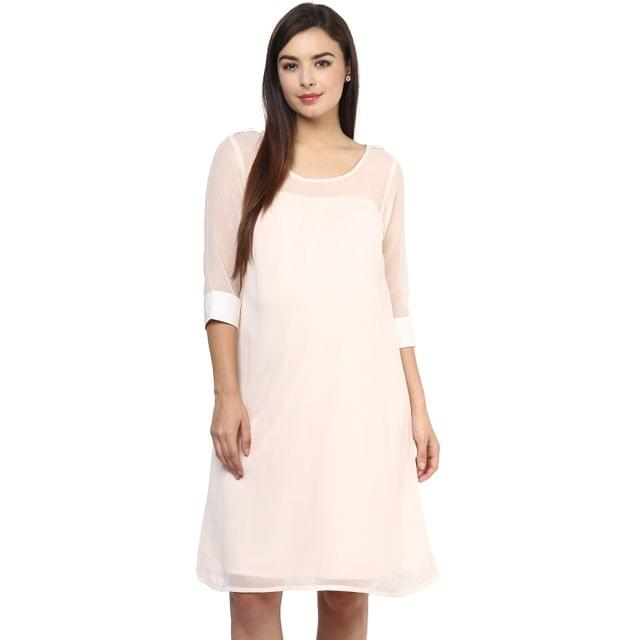 Women's PEACH CONTRAST CUFF DRESS