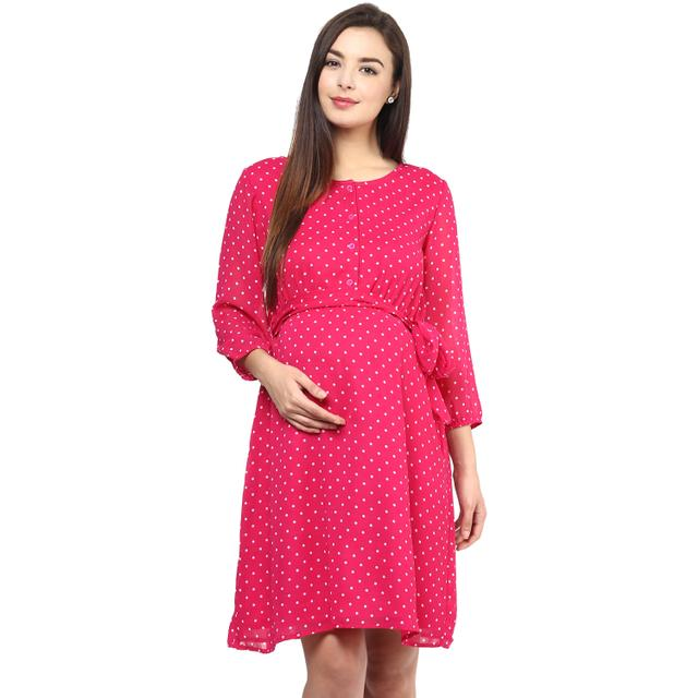 PINK  BLUSH Polka print dress