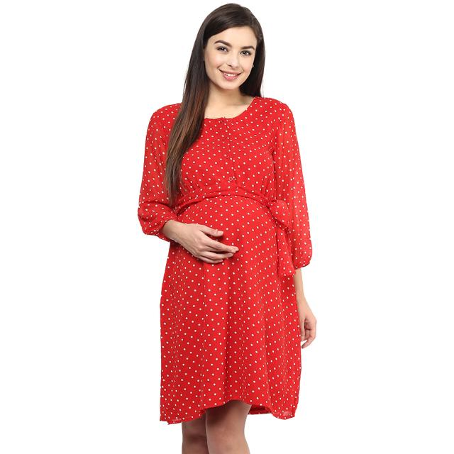 Women's RED Polka print dress
