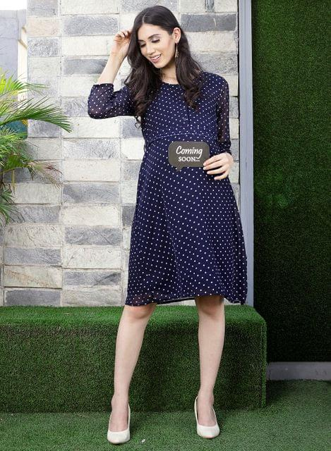 Mine4nine Women's Navy Blue Polka print maternity western dress