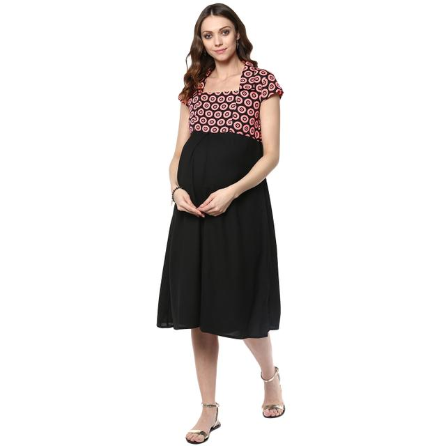 Women's Black Polka print square neckline dress