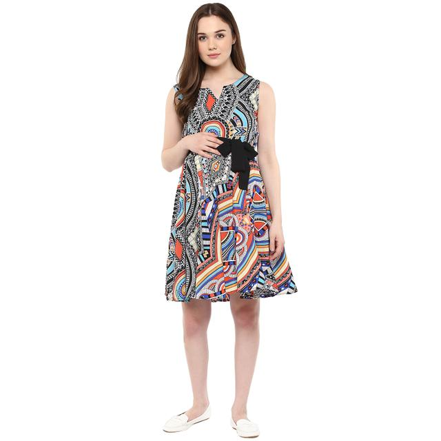 Women's Sky blue Tribal print dress with belt