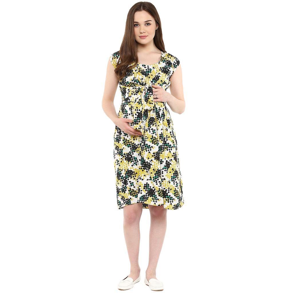 Mine4nine Women's Yellow and Green PRINT KNOT FRONT DRESS