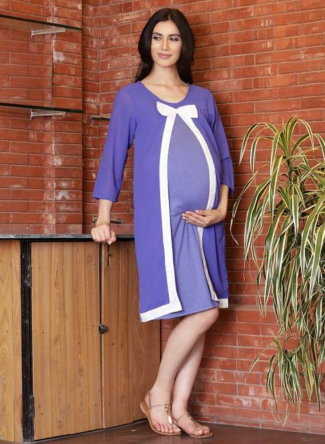Purple Bow knot design maternity dress