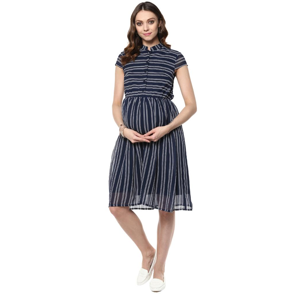 Mine4nine Women's Navy blue stripe maternity dress