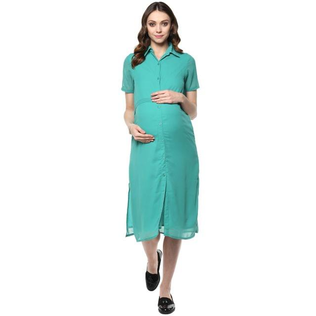 Mine4nine Women's sea green georgette maternity dress