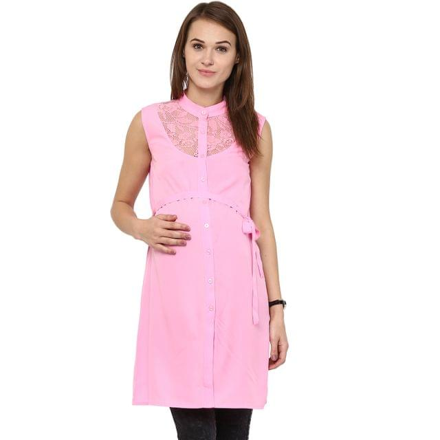 Mine4nine Women's PINK LACE NECK DRESS