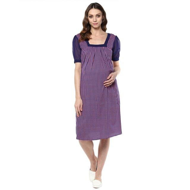 Women's PINK HOUNDSTOOTH SQUARE NECK DRESS