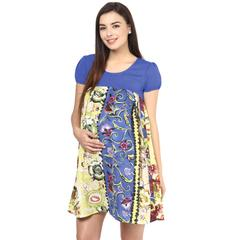 Mine4nine Women's GREEN & BLUE FLORAL EMPIRE WAIST DRESS