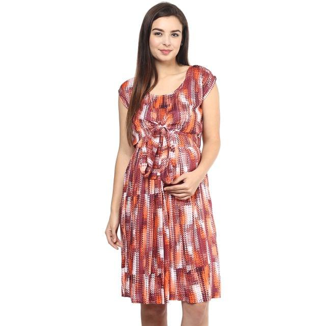 Women's ORANGE PRINT KNOT FRONT DRESS
