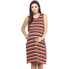 Women's RED STRIPES OPEN TOP DRESS