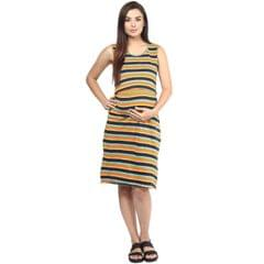 Women's ORANGE STRIPES OPEN TOP DRESS
