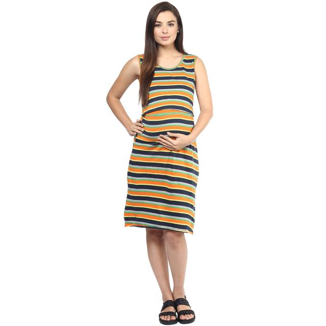 Mine4nine Women's ORANGE STRIPES OPEN TOP DRESS
