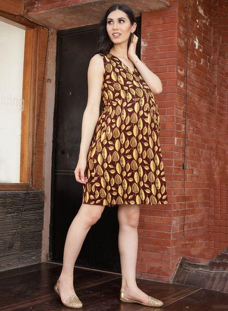 Women's MAROON LEAF PRINT PLEAT DRESS