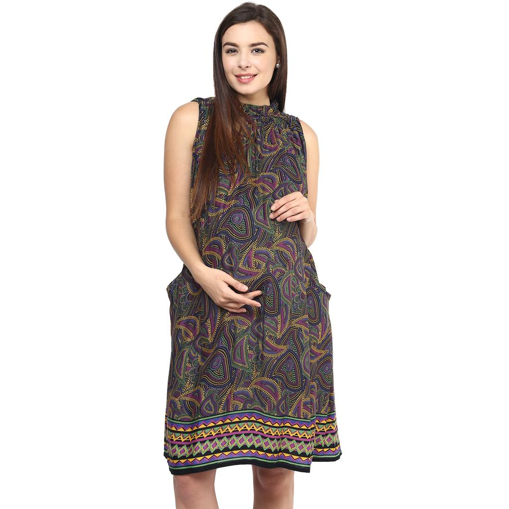 Mine4nine Women's GREEN DOT TRIBAL PRINT POCKET DRESS