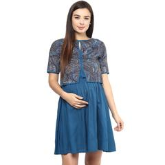 Women's BLUE PAISLEY PRINT TWO PIECE DRESS