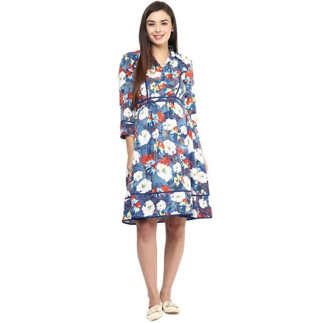 Mine4nine Women's BLUE FLORAL PRINT PIPING DRESS