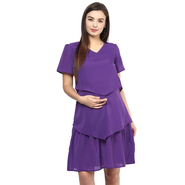Classic Ruby Purple Plaid Maternity & Nursing Maxi