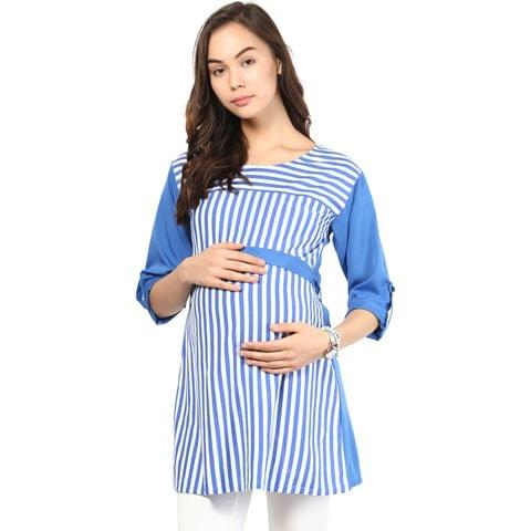 Mine4nine Women's Blue stripe belt tops