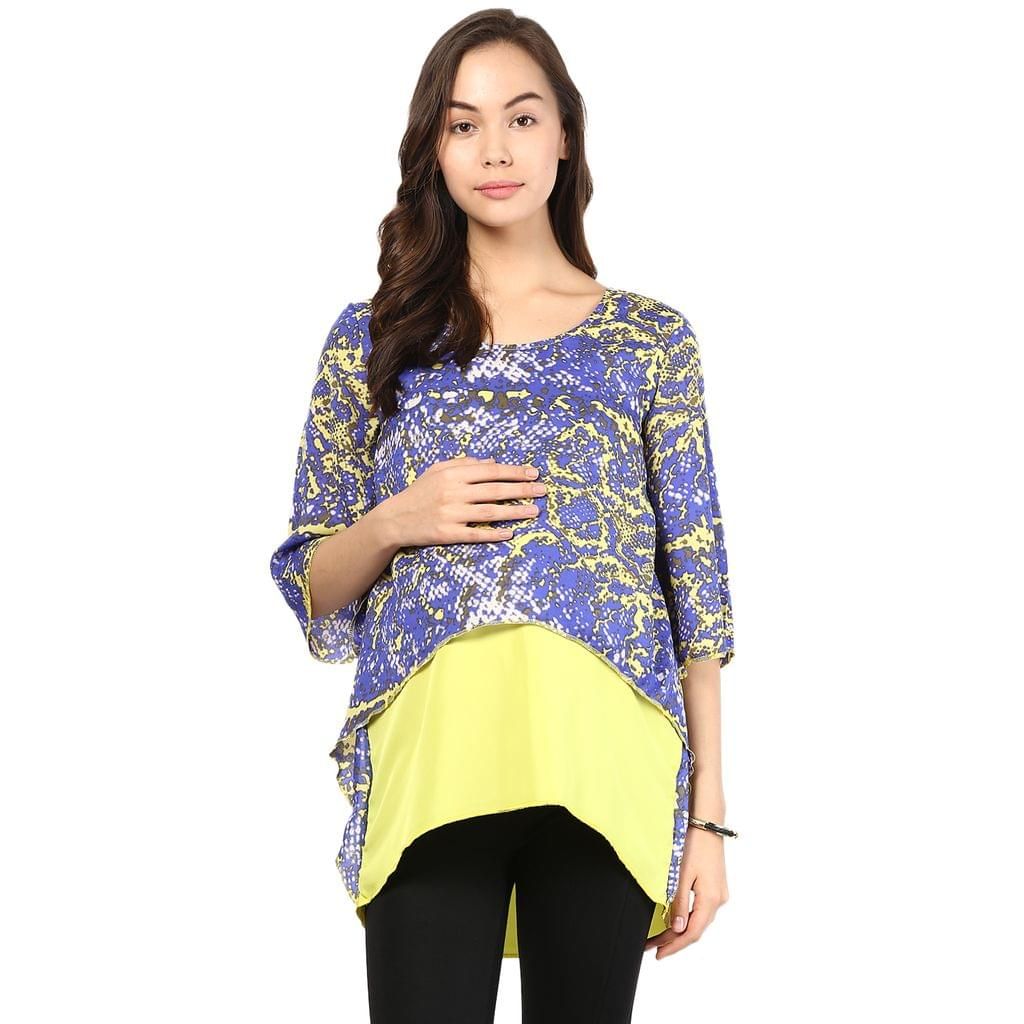 Mine4nine Women's Yellow and purple assymetric crop top