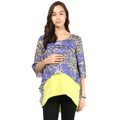 Women's Yellow and purple assymetric crop top