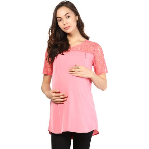 Mine4nine Women's Coral pink lace shoulder top