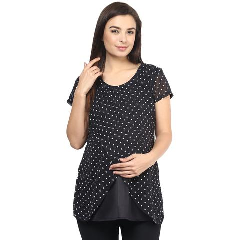 Mine4nine Women's BLACK POLKA TOP