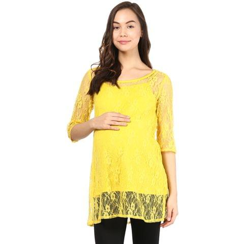 Mine4nine Women's Yellow lace top