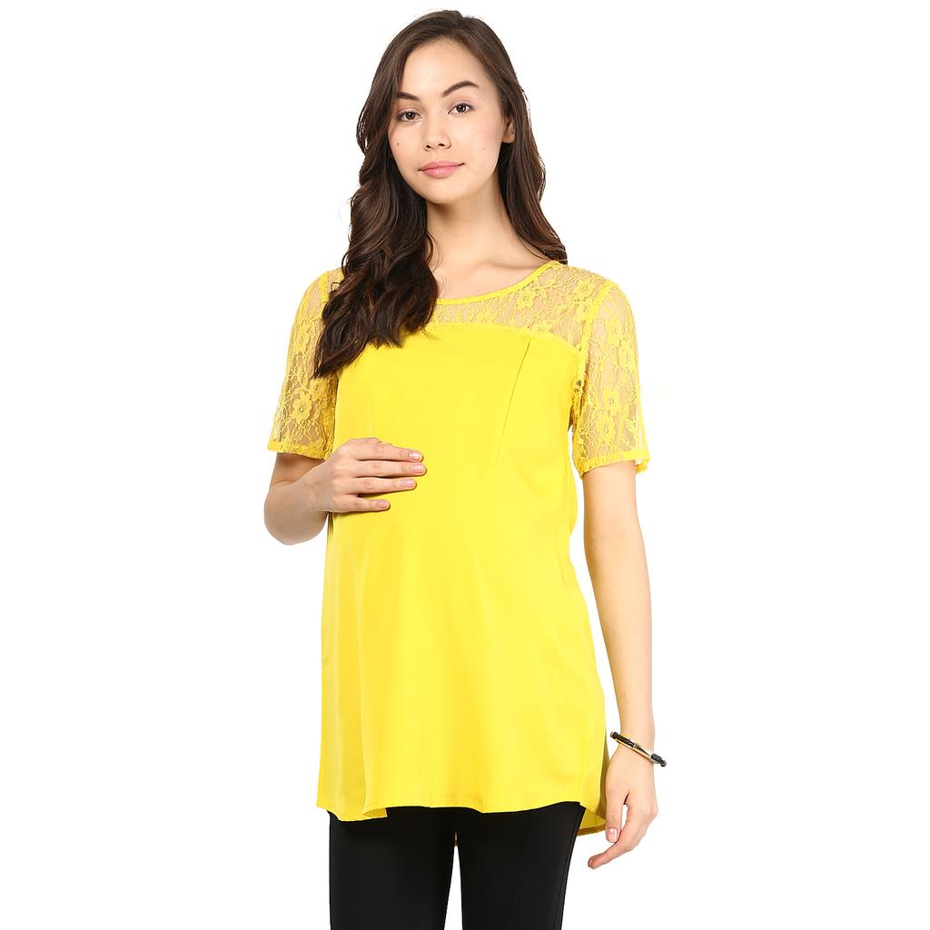 Mine4nine Women's yellow lace shoulder top