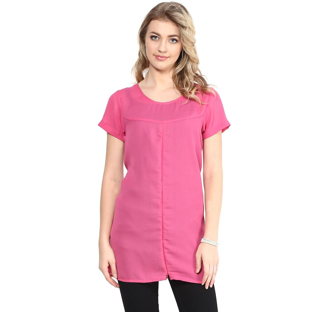 Mine4nine Women's pink & Black zipper top