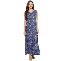 Mine4nine Women's Blue Flora print maxi maternity dress