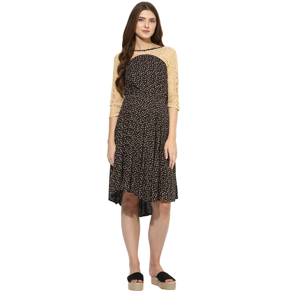 Mine4nine Women's Black FLORAL PRINT LACE DRESS