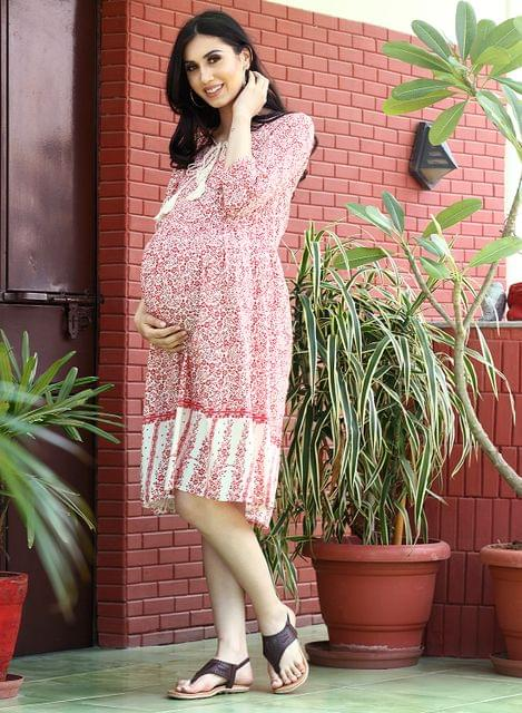 Mine4nine Women's Red Floral printed border maternity dress