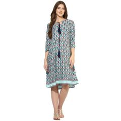 Mine4nine Women's Green Paislay printed border maternity dress