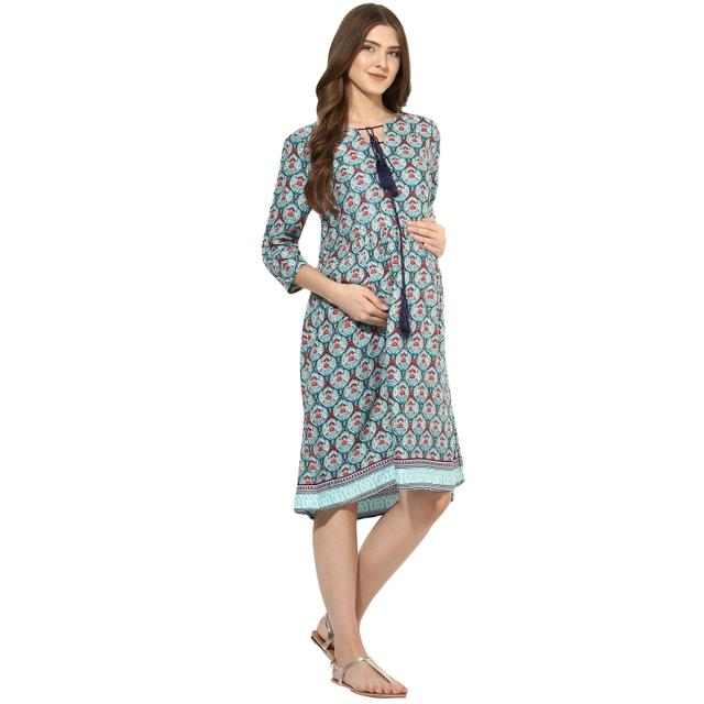 Paisley printed border maternity dress