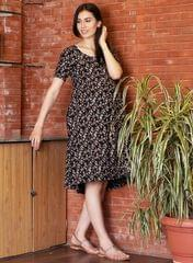 Women's Black floral printed maternity dress