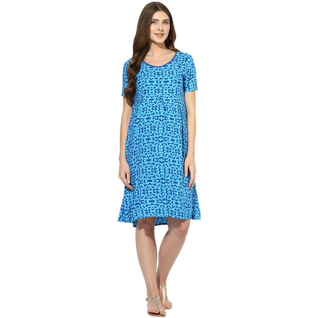 Mine4nine Women's Blue floral printed maternity dress