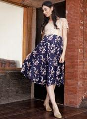 Women's Blue Printed Lace Maternity Dress